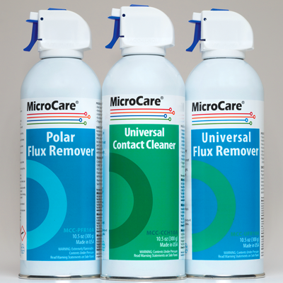 Flux removers and Contact cleaner from Microcare
